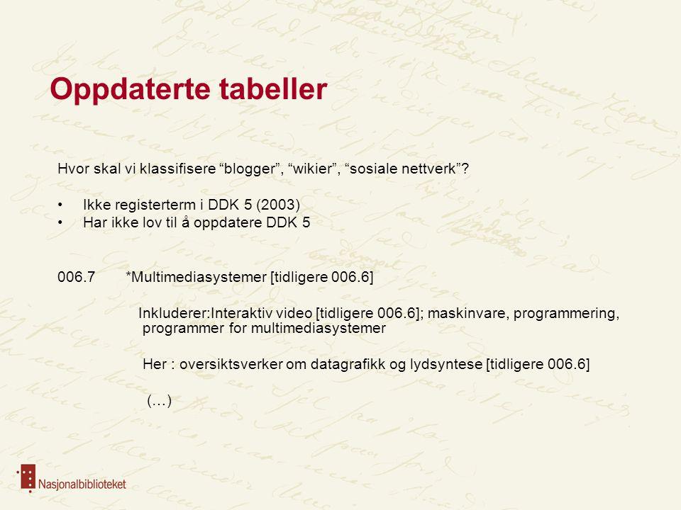 Oppdaterte tabeller Hvor skal vi klassifisere blogger , wikier , sosiale nettverk Ikke registerterm i DDK 5 (2003)