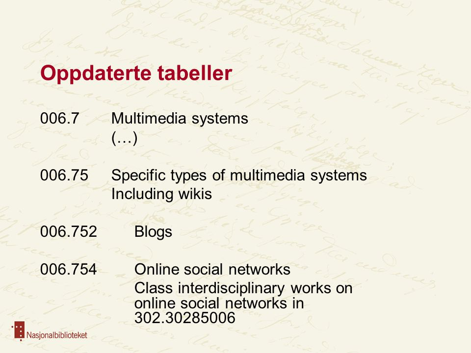 Oppdaterte tabeller