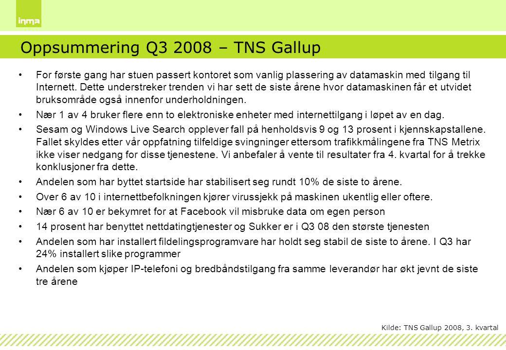 Oppsummering Q3 2008 – TNS Gallup