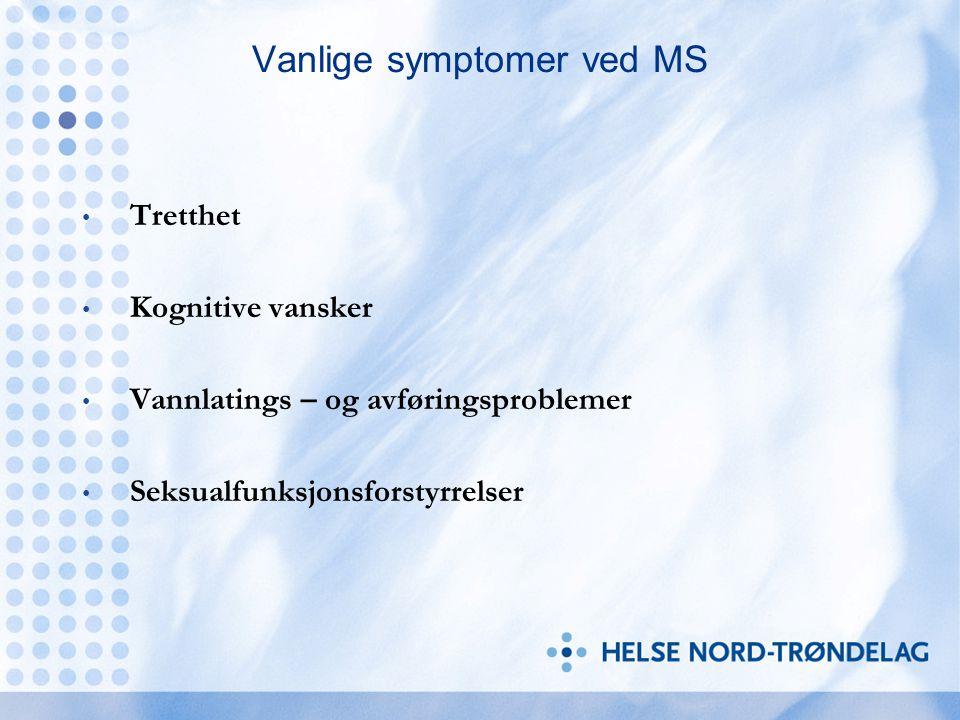 Vanlige symptomer ved MS