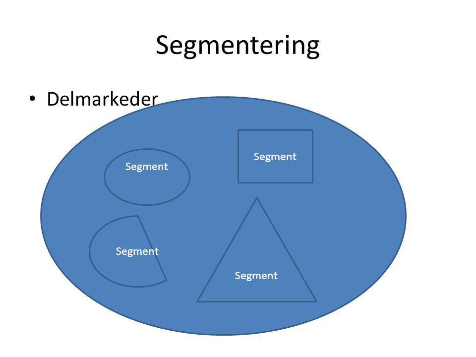 Segmentering Delmarkeder Segment Segment Segment Segment