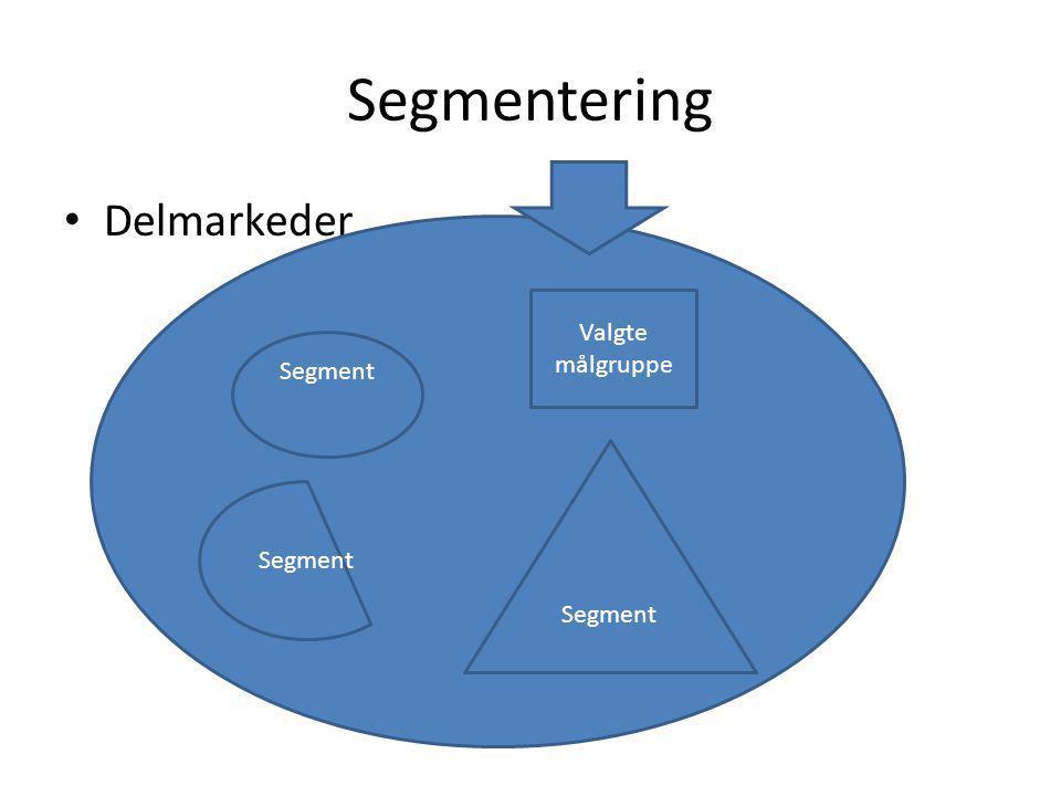 Segmentering Delmarkeder Valgte målgruppe Segment Segment Segment
