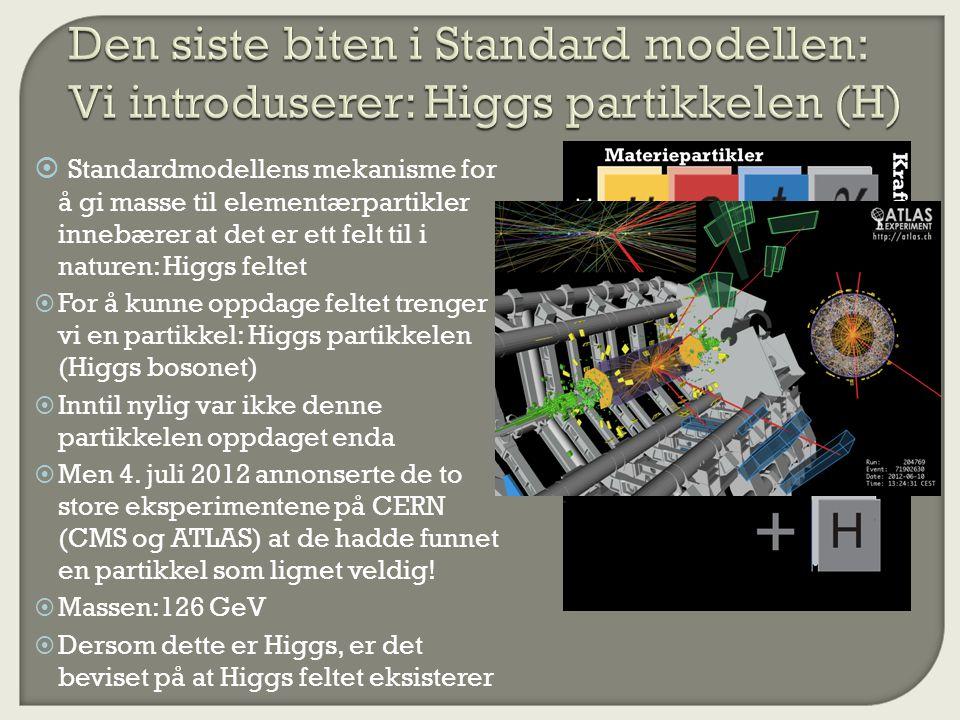 Den siste biten i Standard modellen: Vi introduserer: Higgs partikkelen (H)