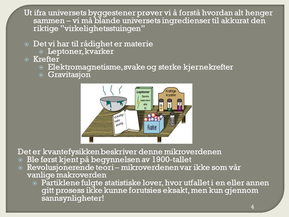 Ut ifra universets byggestener prøver vi å forstå hvordan alt henger sammen – vi må blande universets ingredienser til akkurat den riktige virkelighetsstuingen