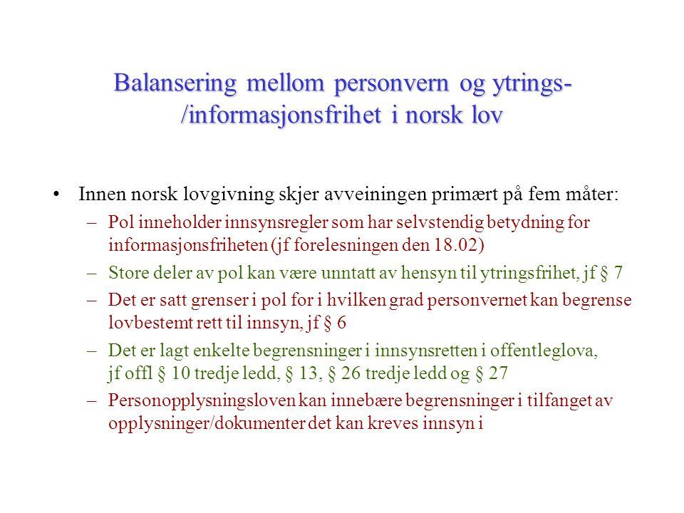 Balansering mellom personvern og ytrings-/informasjonsfrihet i norsk lov