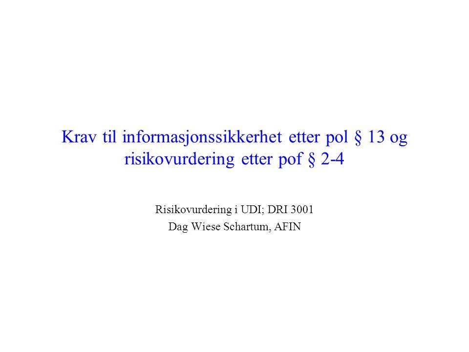 Risikovurdering i UDI; DRI 3001 Dag Wiese Schartum, AFIN
