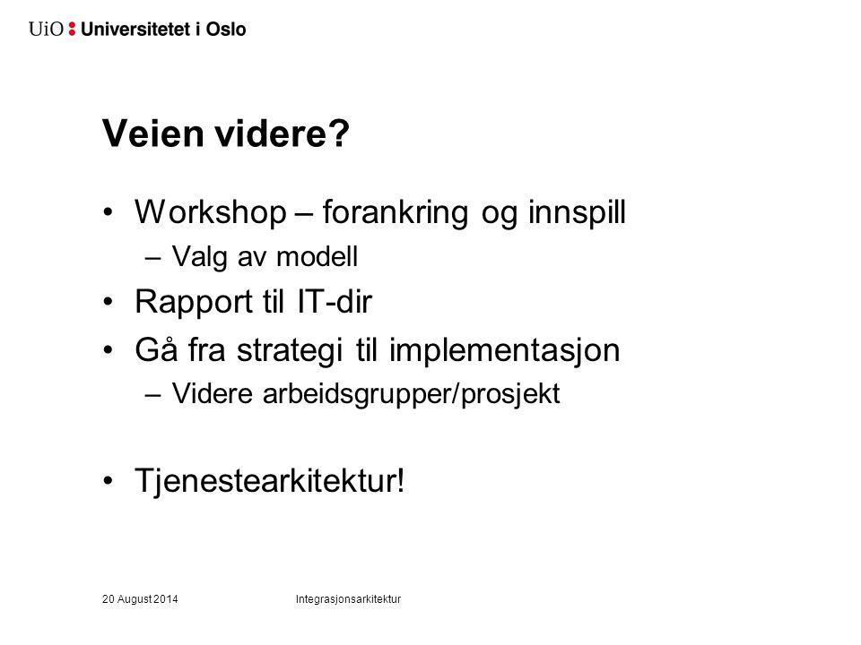Veien videre Workshop – forankring og innspill Rapport til IT-dir