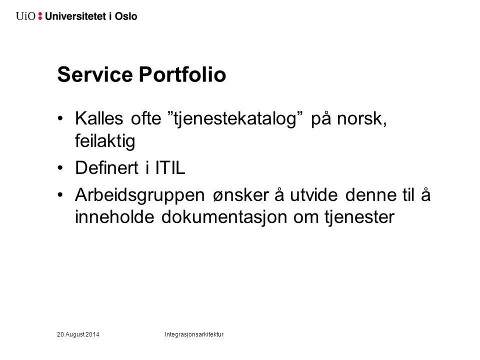 Service Portfolio Kalles ofte tjenestekatalog på norsk, feilaktig