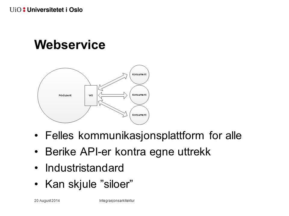 Webservice Felles kommunikasjonsplattform for alle