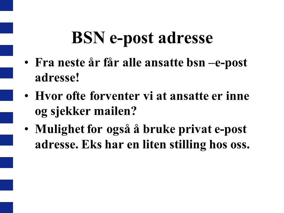 BSN e-post adresse Fra neste år får alle ansatte bsn –e-post adresse!