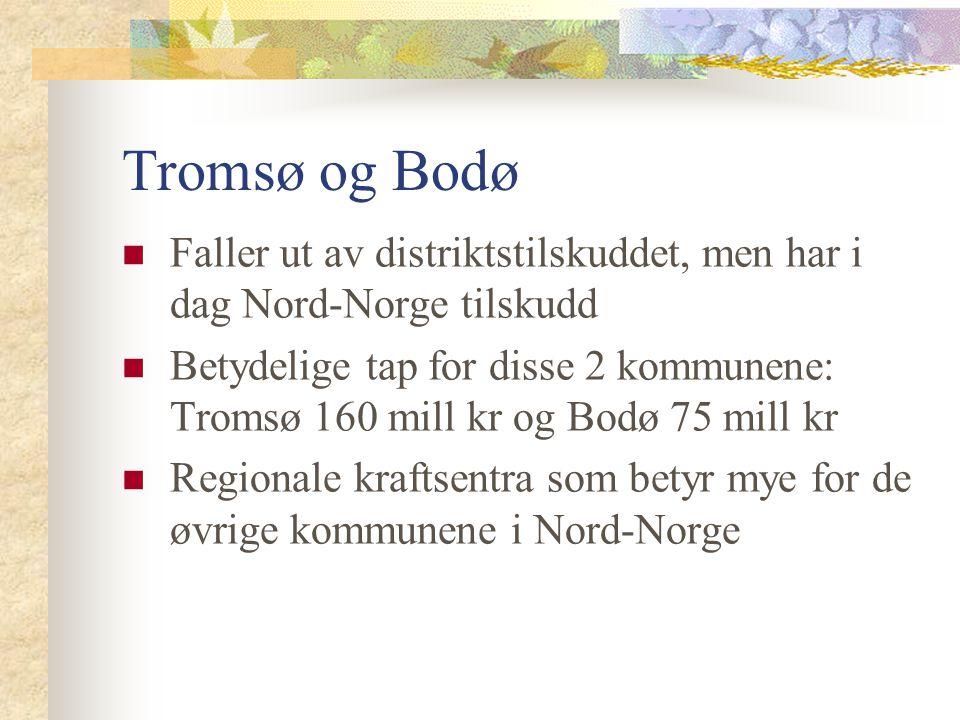 Tromsø og Bodø Faller ut av distriktstilskuddet, men har i dag Nord-Norge tilskudd.