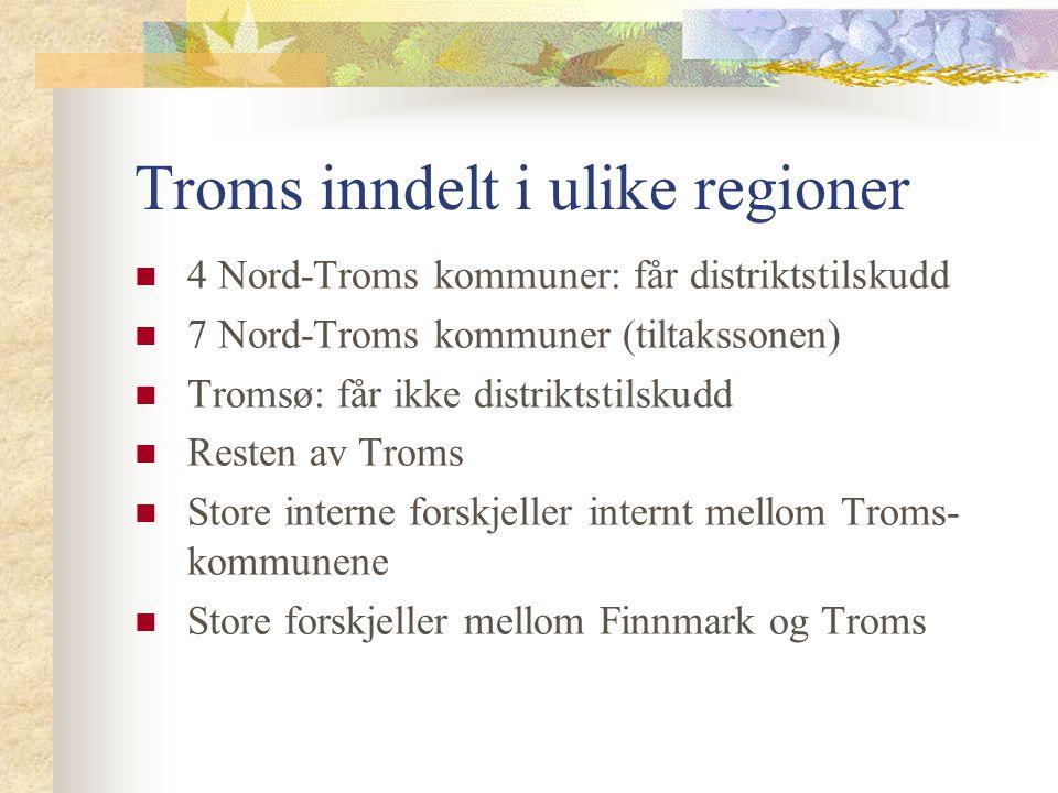 Troms inndelt i ulike regioner
