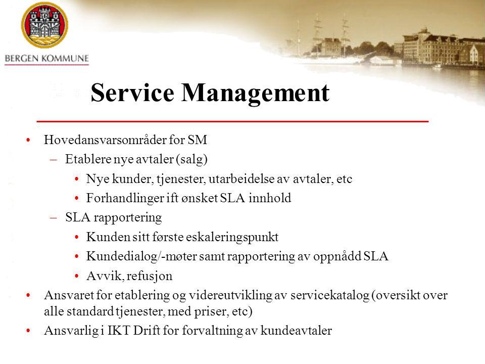 Service Management Hovedansvarsområder for SM