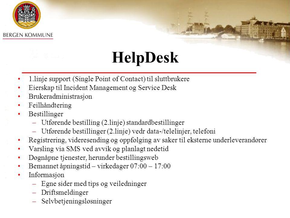 HelpDesk 1.linje support (Single Point of Contact) til sluttbrukere