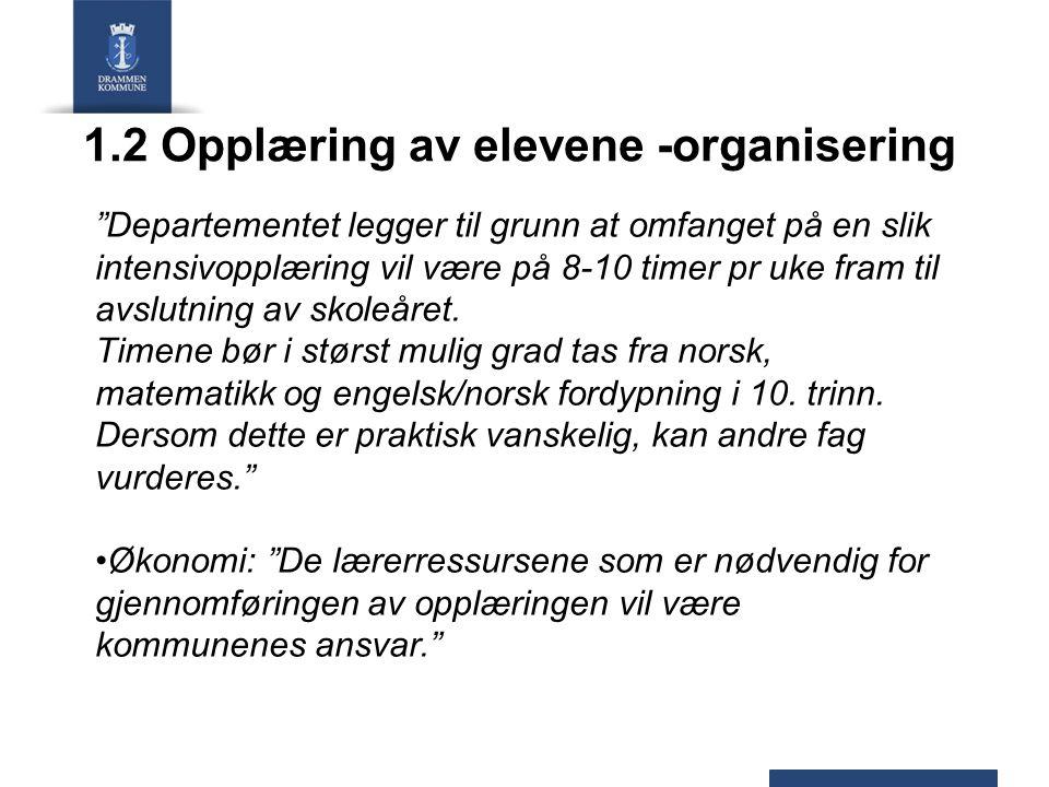 1.2 Opplæring av elevene -organisering