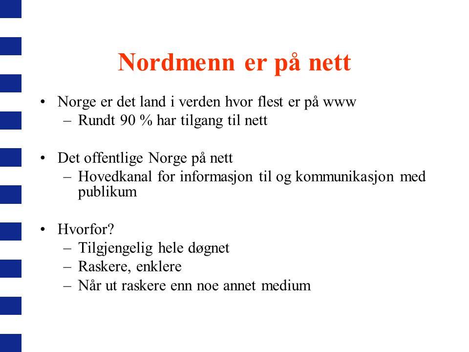Nordmenn er på nett Norge er det land i verden hvor flest er på www