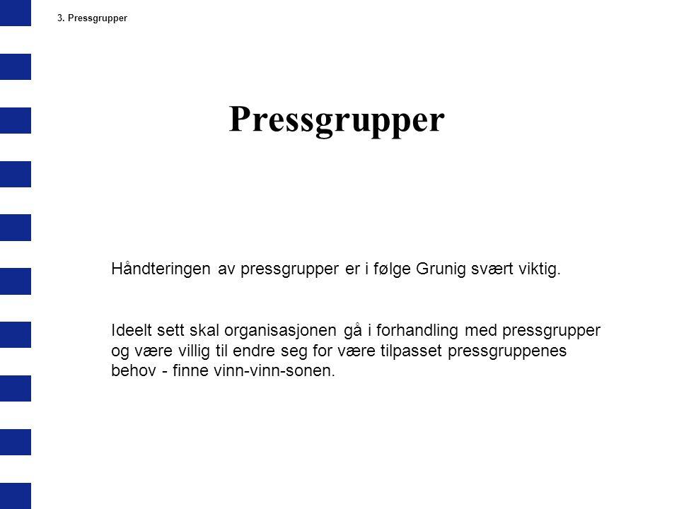 3. Pressgrupper Pressgrupper. Håndteringen av pressgrupper er i følge Grunig svært viktig.