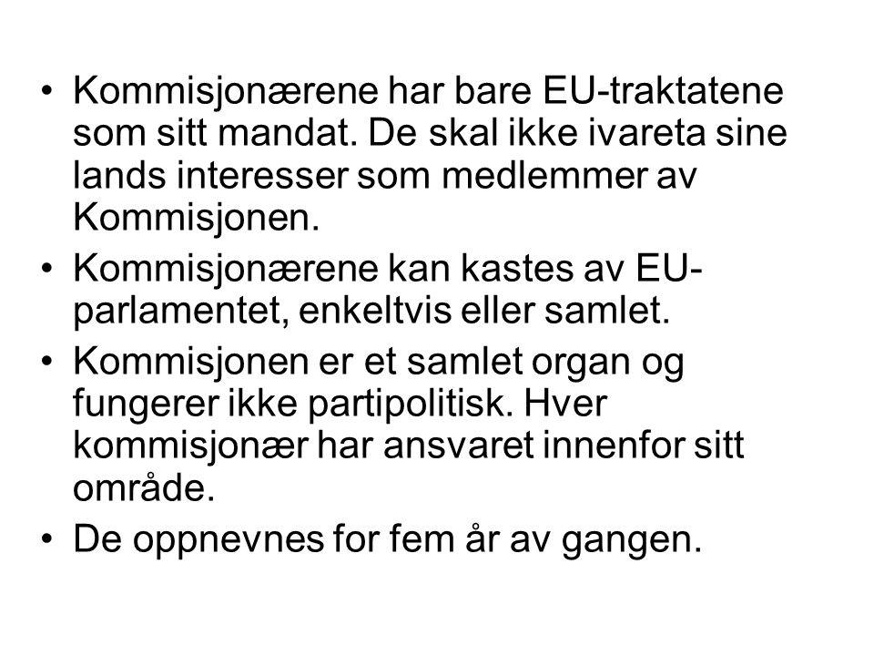Kommisjonærene har bare EU-traktatene som sitt mandat