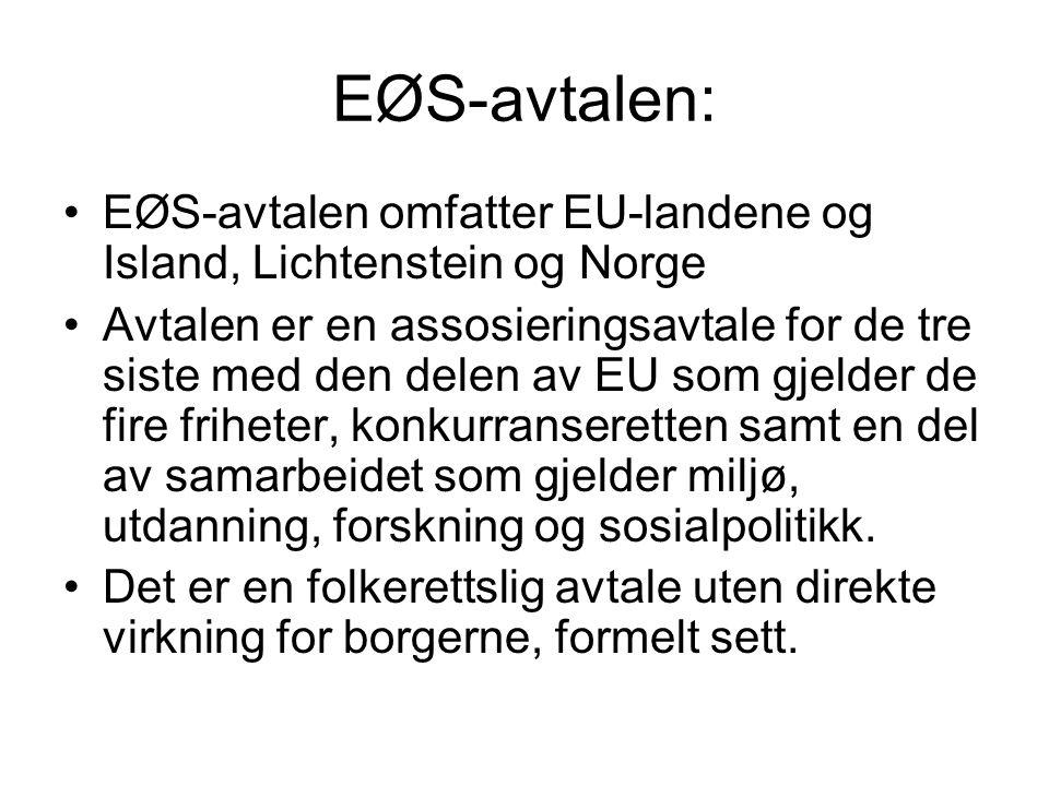 EØS-avtalen: EØS-avtalen omfatter EU-landene og Island, Lichtenstein og Norge.