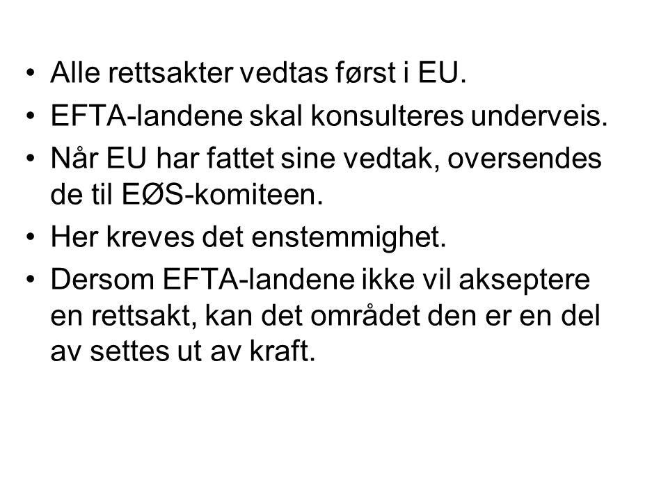 Alle rettsakter vedtas først i EU.