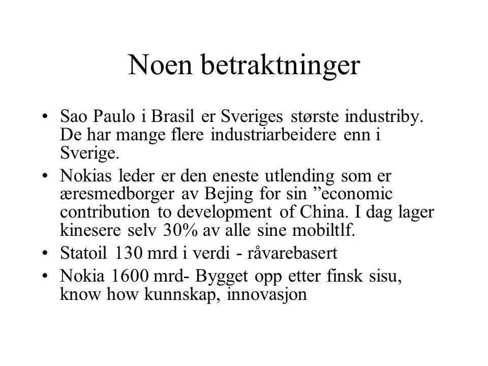 Noen betraktninger Sao Paulo i Brasil er Sveriges største industriby. De har mange flere industriarbeidere enn i Sverige.