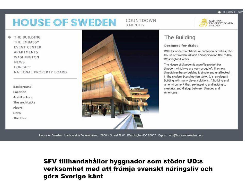 SFV tillhandahåller byggnader som stöder UD:s verksamhet med att främja svenskt näringsliv och göra Sverige känt