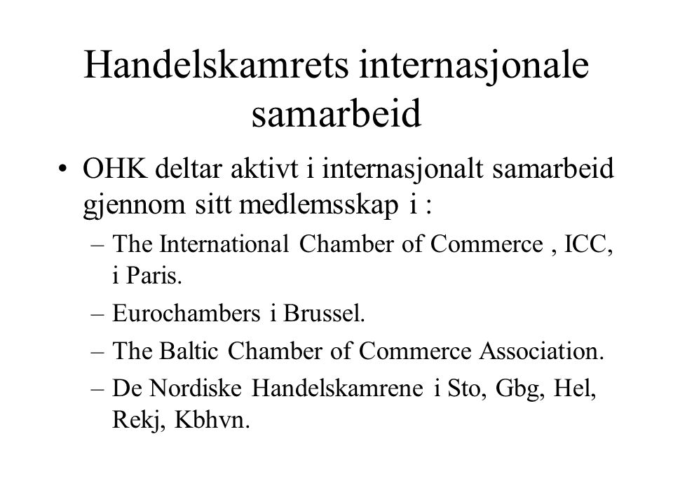 Handelskamrets internasjonale samarbeid