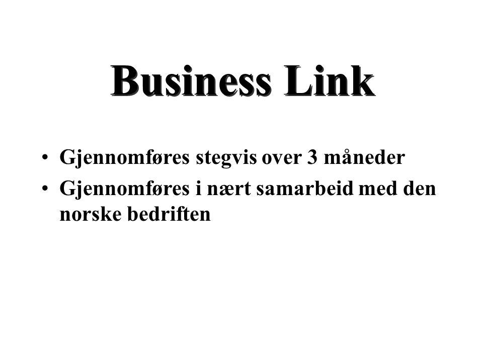 Business Link Gjennomføres stegvis over 3 måneder