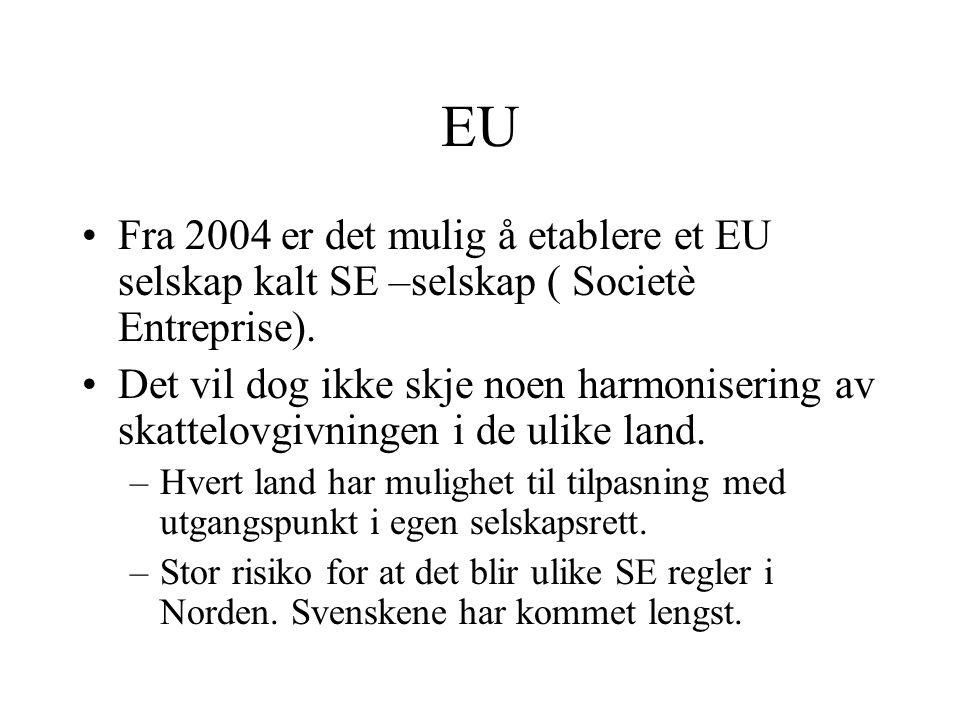 EU Fra 2004 er det mulig å etablere et EU selskap kalt SE –selskap ( Societè Entreprise).