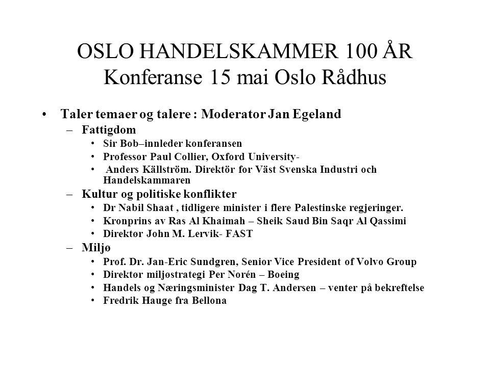 OSLO HANDELSKAMMER 100 ÅR Konferanse 15 mai Oslo Rådhus