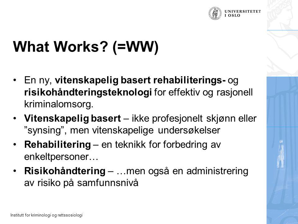 What Works (=WW) En ny, vitenskapelig basert rehabiliterings- og risikohåndteringsteknologi for effektiv og rasjonell kriminalomsorg.