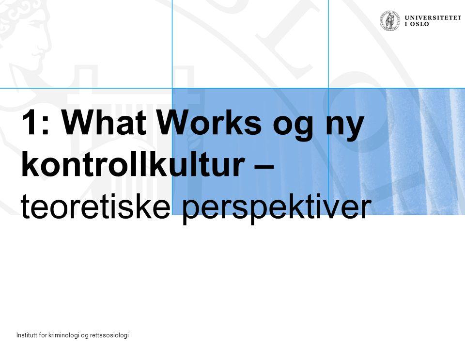 1: What Works og ny kontrollkultur – teoretiske perspektiver