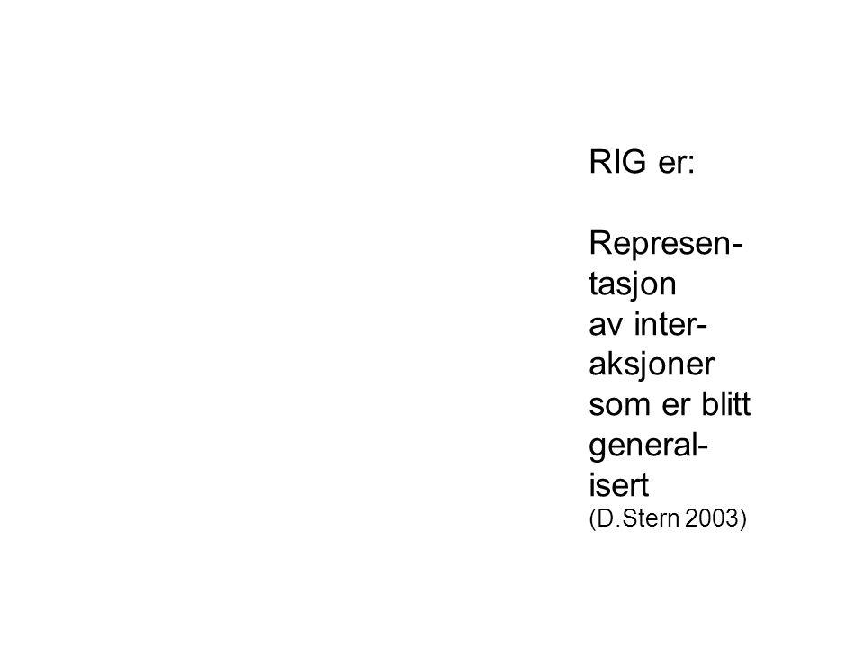 RIG er: Represen- tasjon av inter- aksjoner som er blitt general-