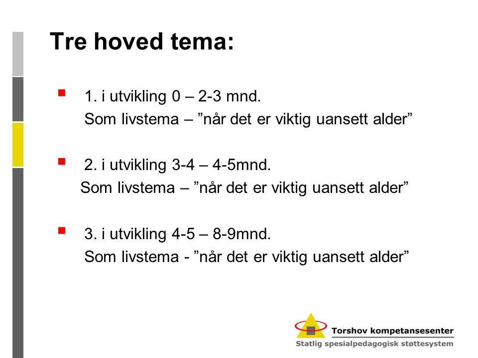 Tre hoved tema: 1. i utvikling 0 – 2-3 mnd.