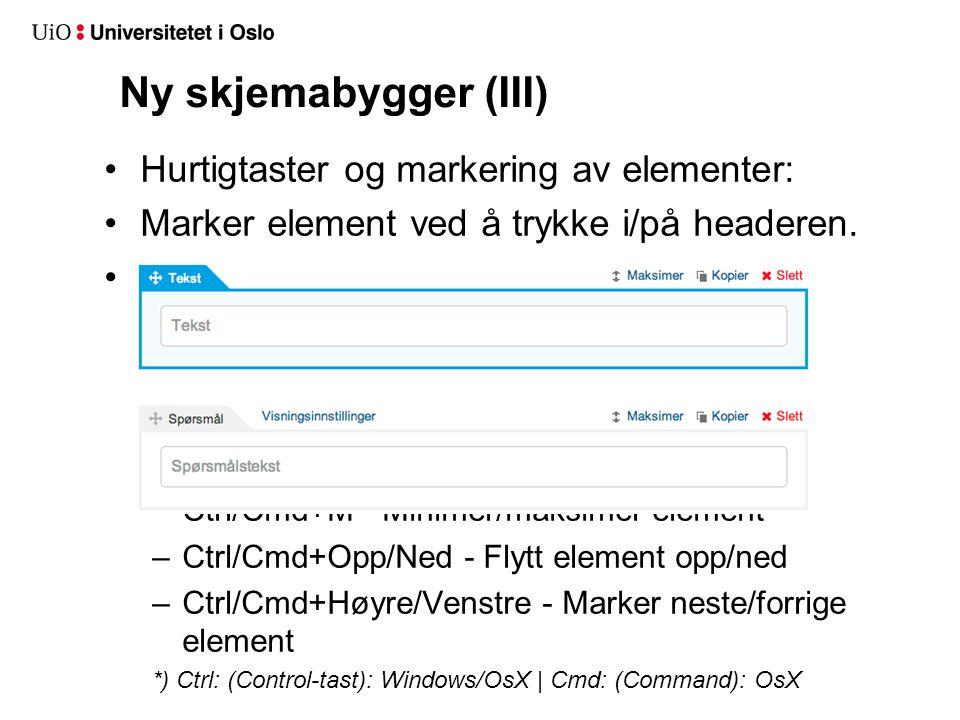 Ny skjemabygger (II): Minimering/maksimering: