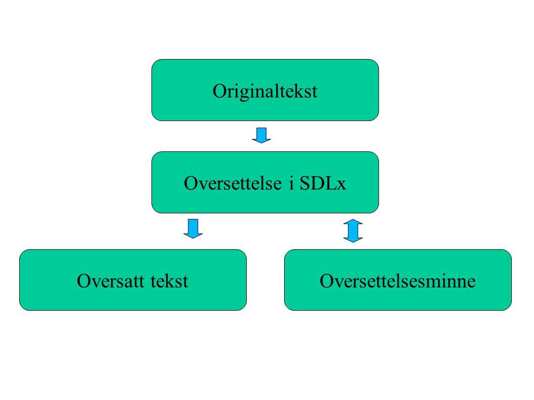 Originaltekst Oversettelse i SDLx Oversatt tekst Oversettelsesminne
