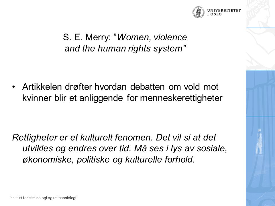 S. E. Merry: Women, violence and the human rights system