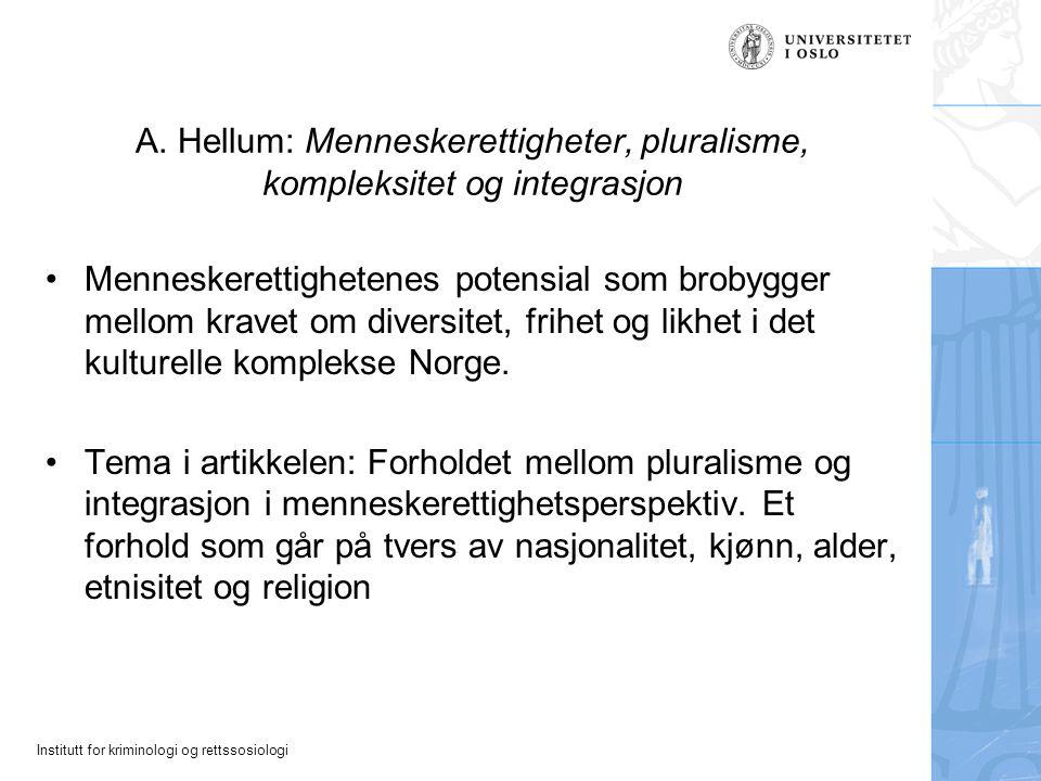 A. Hellum: Menneskerettigheter, pluralisme, kompleksitet og integrasjon