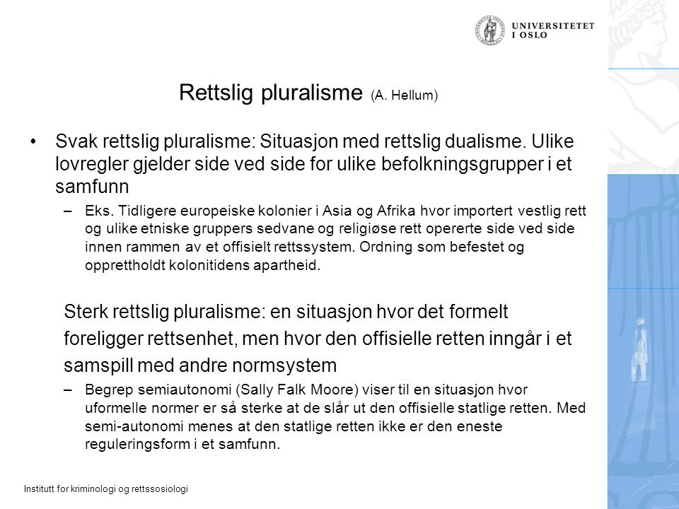 Rettslig pluralisme (A. Hellum)