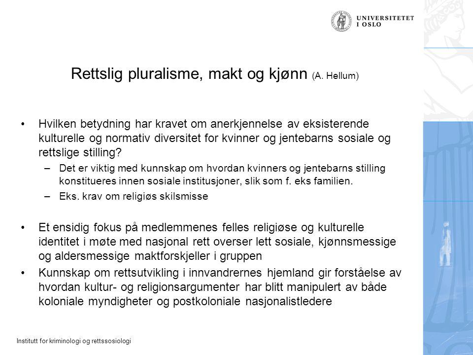 Rettslig pluralisme, makt og kjønn (A. Hellum)
