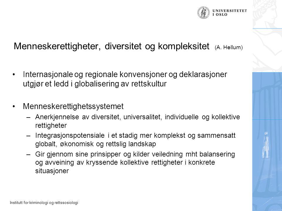 Menneskerettigheter, diversitet og kompleksitet (A. Hellum)