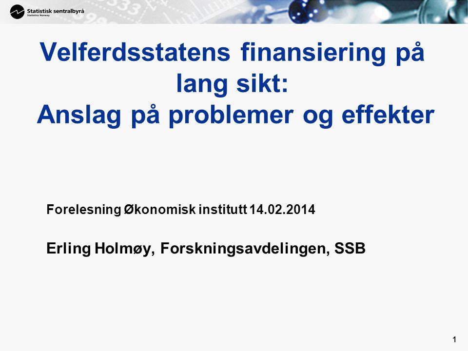 Velferdsstatens finansiering på lang sikt: Anslag på problemer og effekter