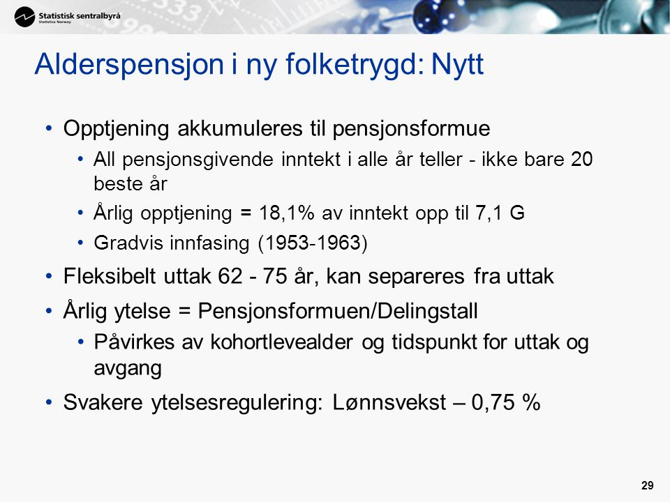 Alderspensjon i ny folketrygd: Nytt
