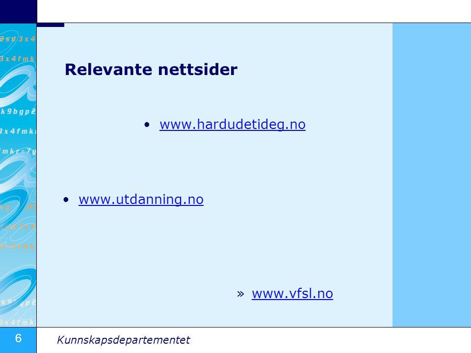 Relevante nettsider www.hardudetideg.no www.utdanning.no www.vfsl.no