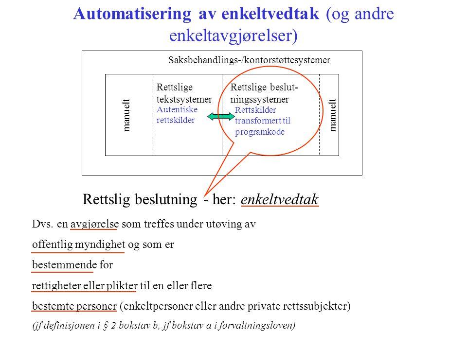 Automatisering av enkeltvedtak (og andre enkeltavgjørelser)