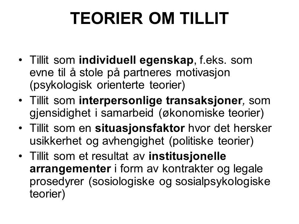 TEORIER OM TILLIT Tillit som individuell egenskap, f.eks. som evne til å stole på partneres motivasjon (psykologisk orienterte teorier)