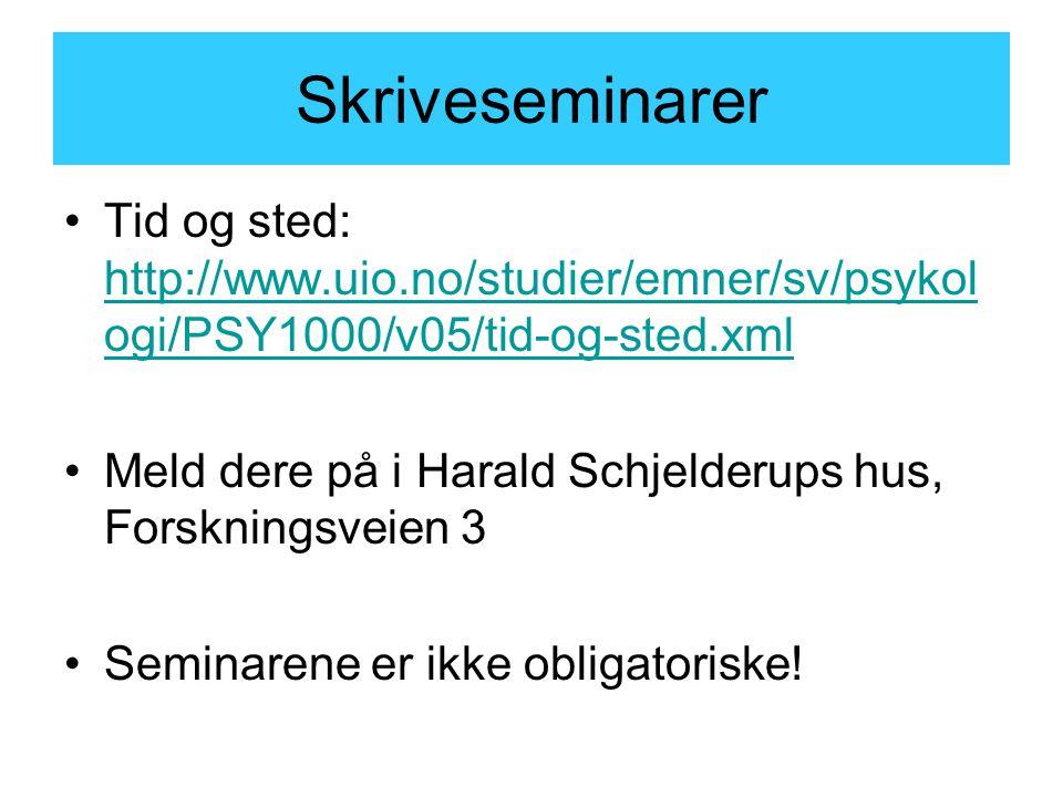 Skriveseminarer Tid og sted: http://www.uio.no/studier/emner/sv/psykologi/PSY1000/v05/tid-og-sted.xml.