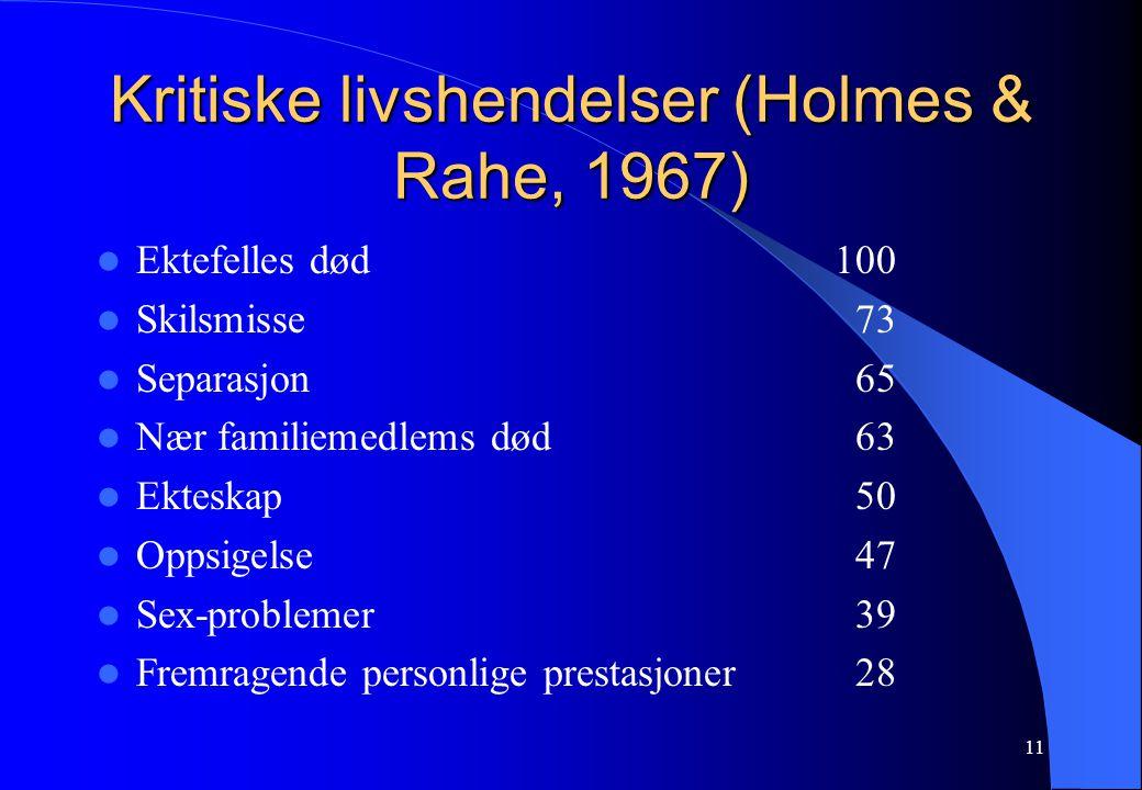 Kritiske livshendelser (Holmes & Rahe, 1967)
