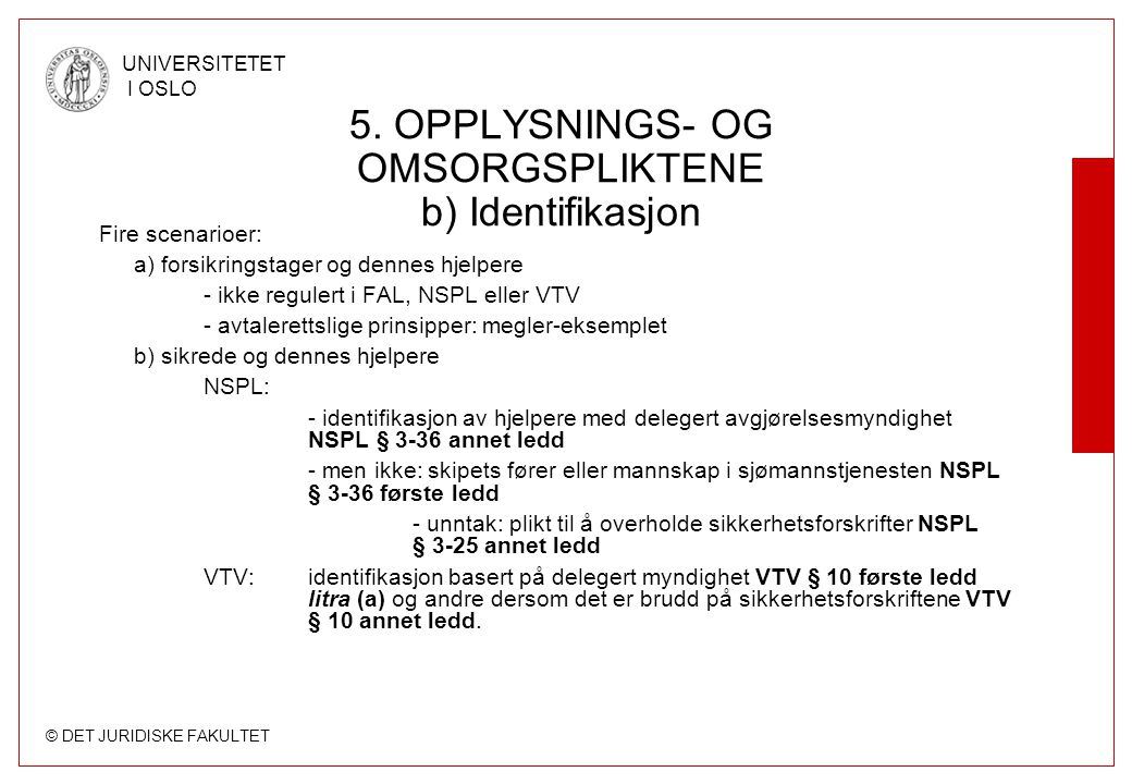 5. OPPLYSNINGS- OG OMSORGSPLIKTENE b) Identifikasjon