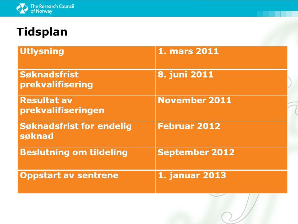 Tidsplan Utlysning 1. mars 2011 Søknadsfrist prekvalifisering